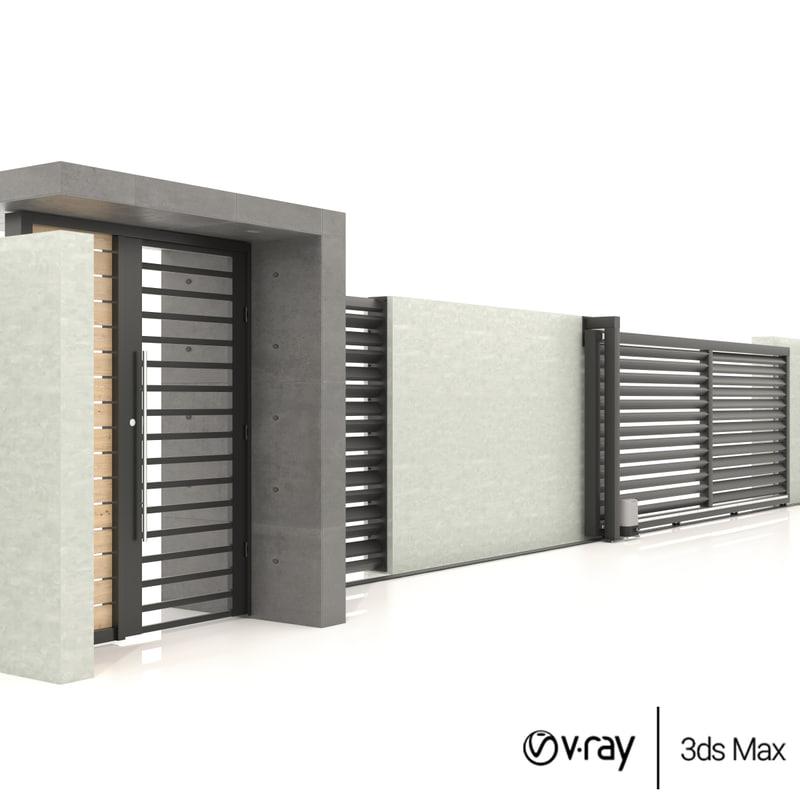 3D minimalistic house sliding gate