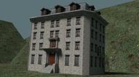 3D asylum building exterior