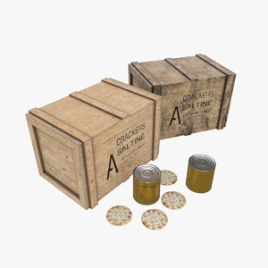 3D army crackers wood crate