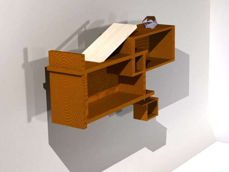 modern contemporary bookshelf 3D model