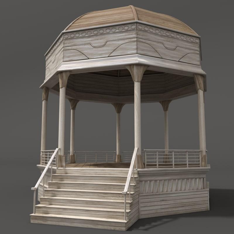 wooden gazebo 3D model