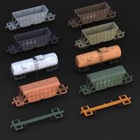 3D model cargo railway
