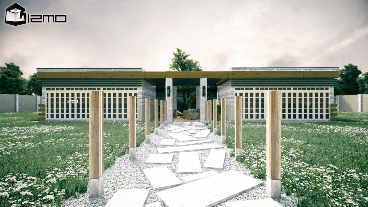 3D square house exterior