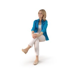 city woman sitting people 3D