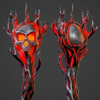 Hellish staff with a skull