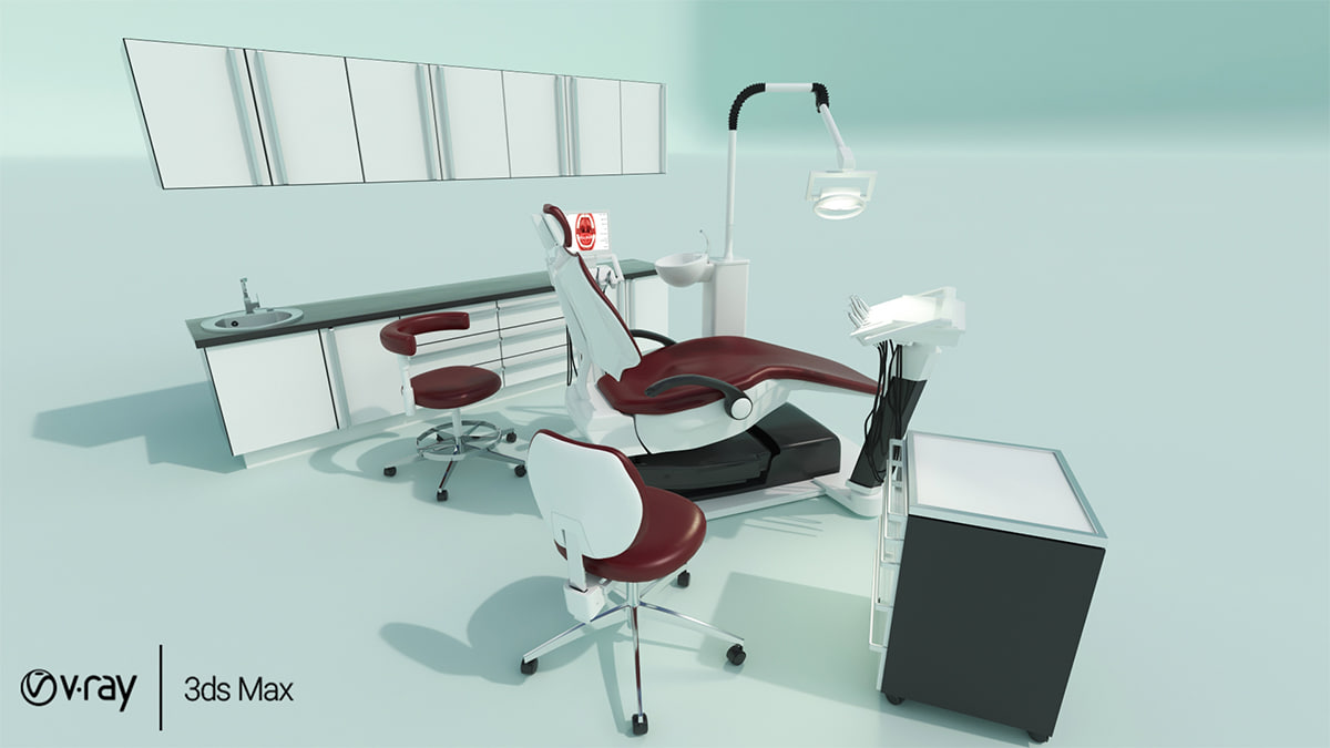 3D dental chair cabinets model