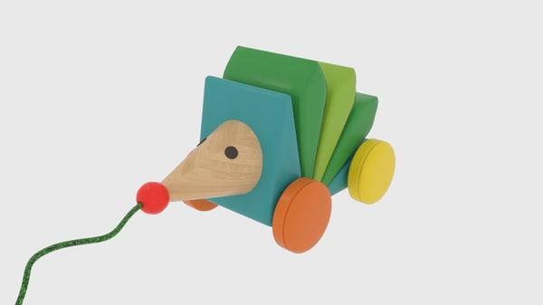 kasper wooden pull-along hedgehog 3D