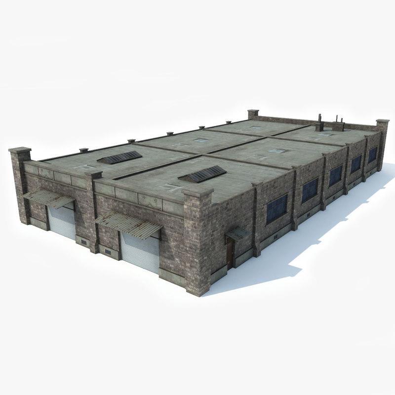 3D industrial building factory model