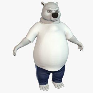 cartoon polar bear 3D model