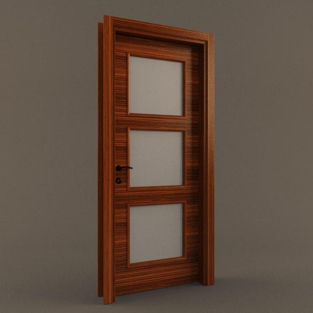 ebony wooden door 3D model