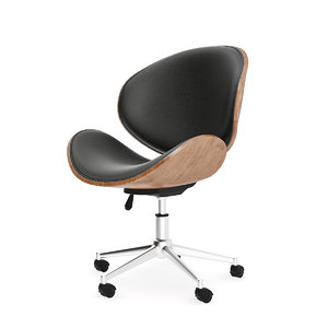 wood leather swivel chair 3D
