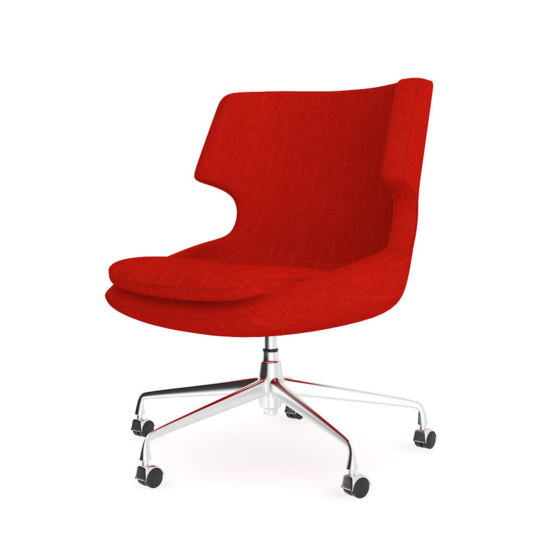 red fabric swivel chair 3D model