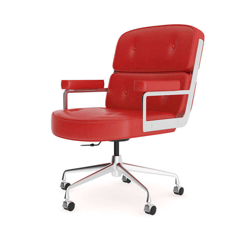 red leather swivel chair 3D model