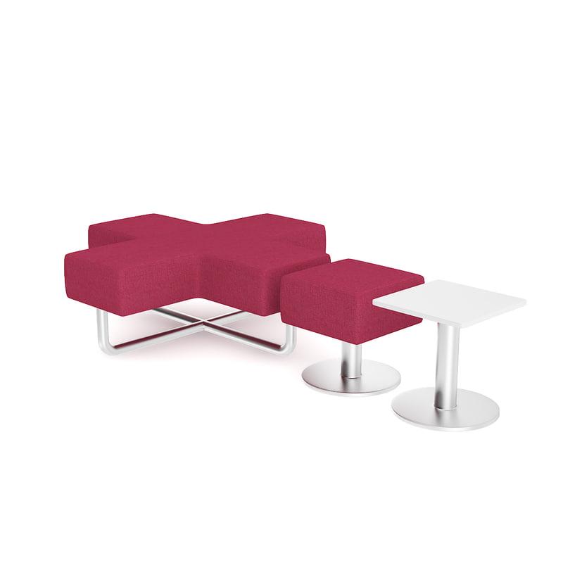 purple poufs coffee table model