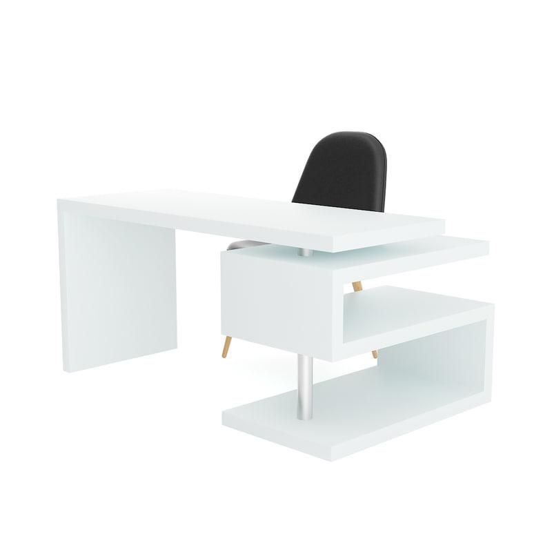 modern white desk black 3D model