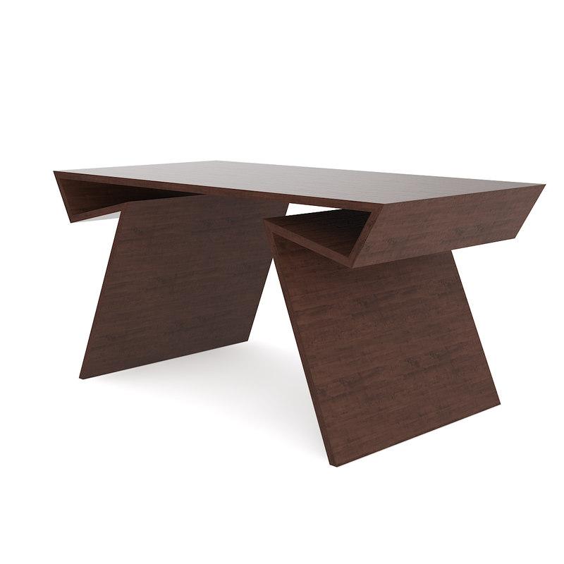 3D modern wooden desk