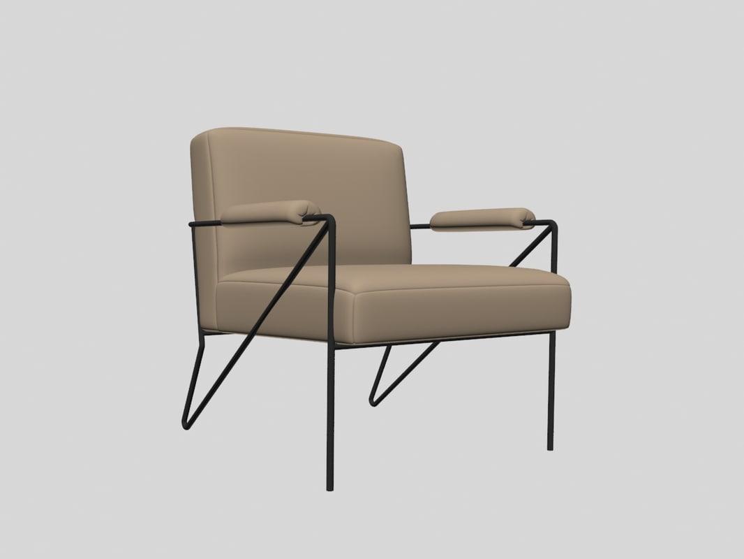 Emmett Lounge Chair Kelly 3D Model