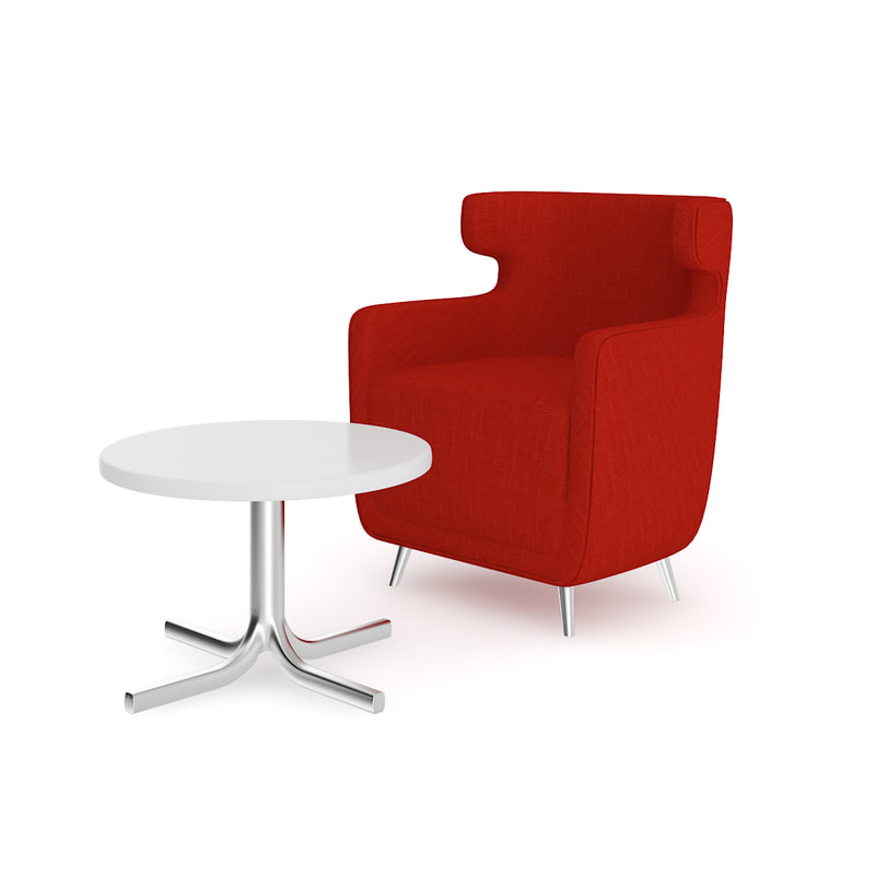 3D red armchair coffee table