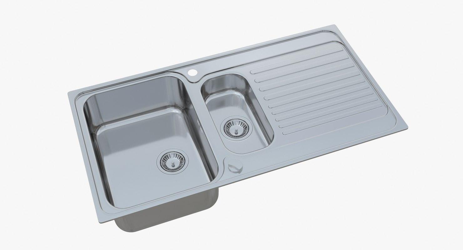 sink blanco tipo 6 3D model