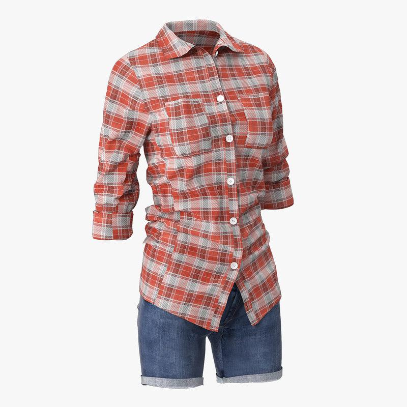 jeans shorts shirt model