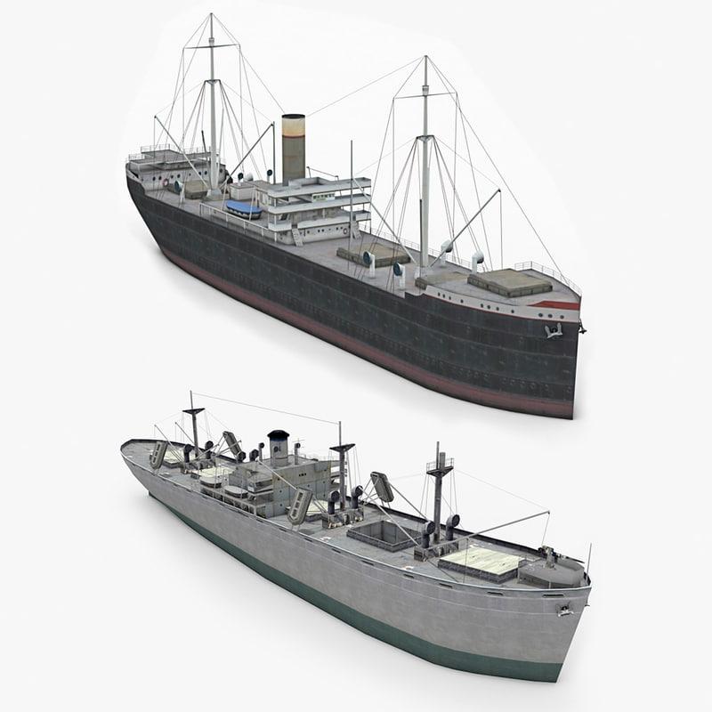 3D old cargo ship