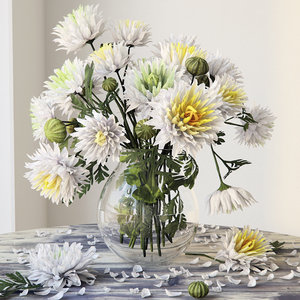 3D model bouquet chrysanthemum