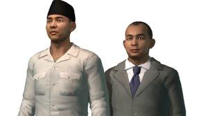 3D president presiden sukarno model
