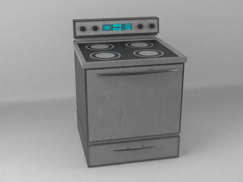 3D model modern stove wear pbr