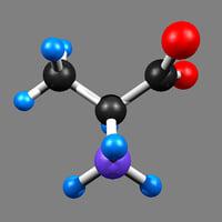 alanine organic compound 3D model