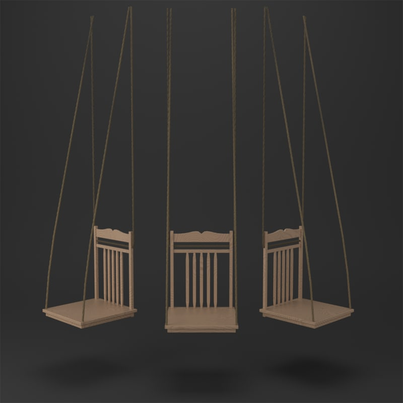 3D upcycled chair swing