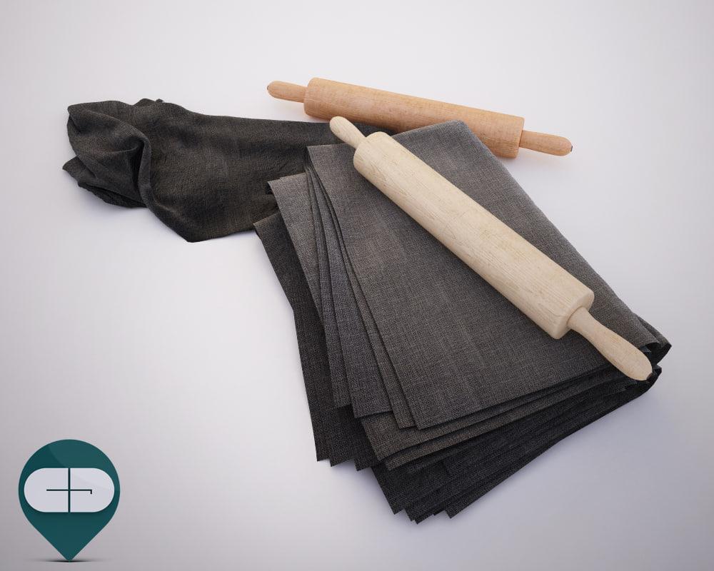 cloth rolling pins 3D