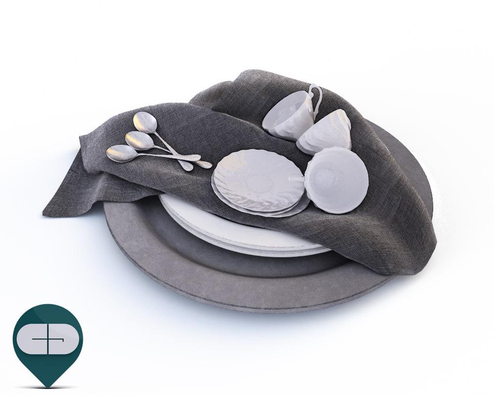 3D plate cloth cup model