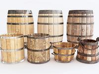barrels buckets 3D model