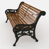 3D park cast iron bench