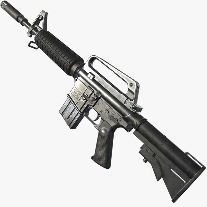 xm177 firearm weapon 3D