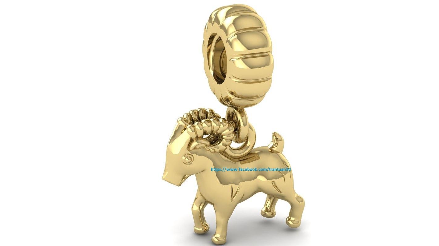3D model lucky goat charm