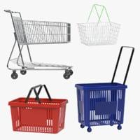 3D shopping baskets carts