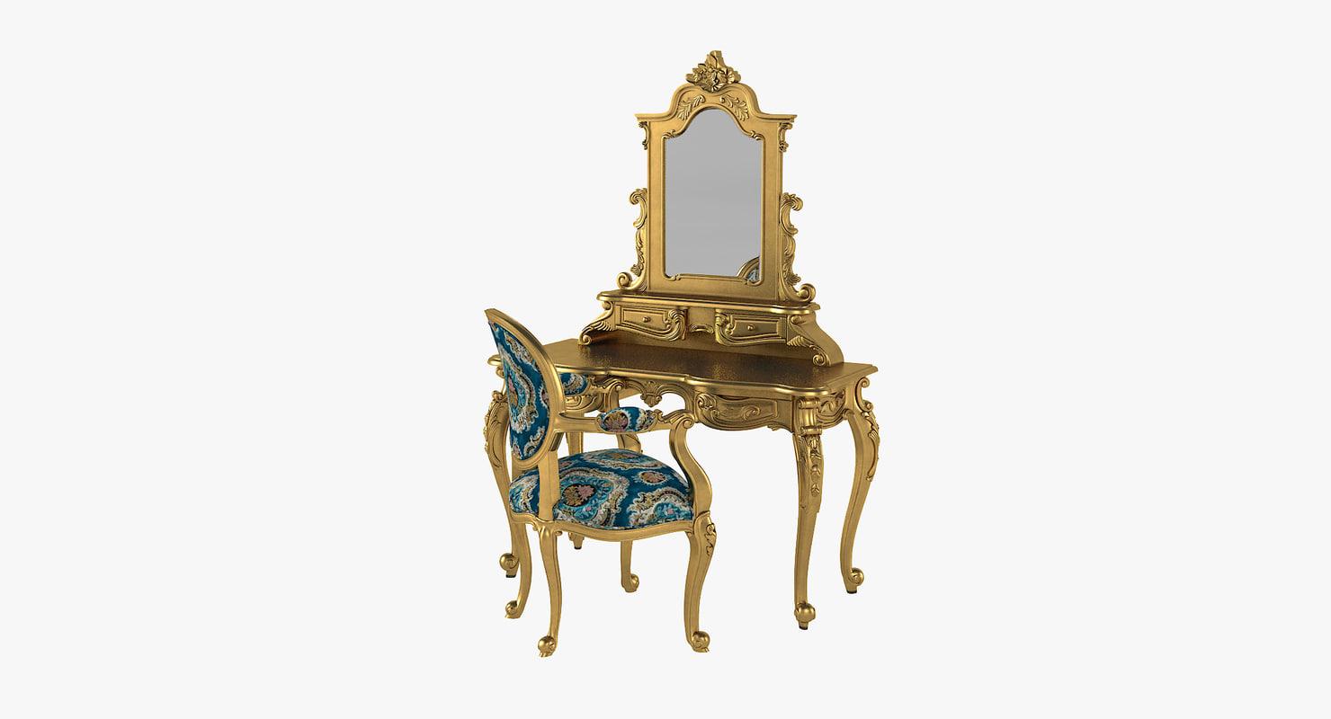 3D anais dressing table chair