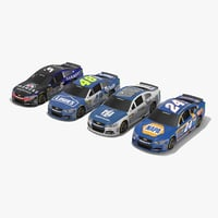 pack nascar cars hendrick 3D model