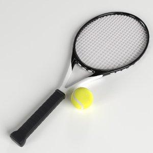 3D model tennis ball racket set