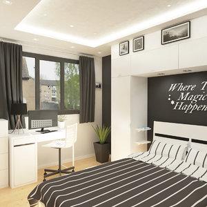 small bedroom interior scene model