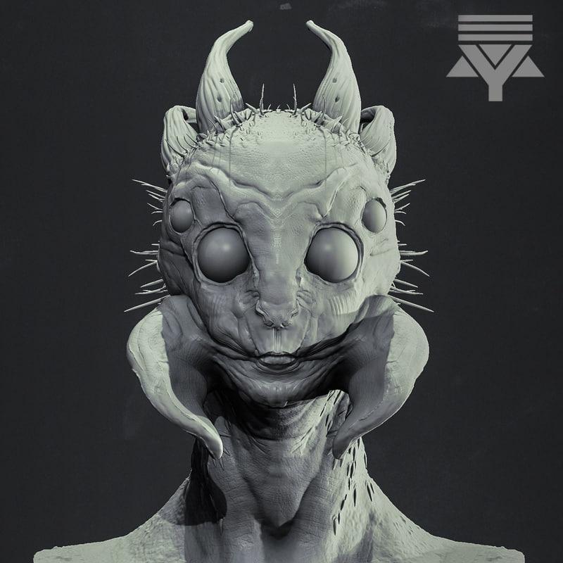 arachnid humanoid bust highpoly 3D model