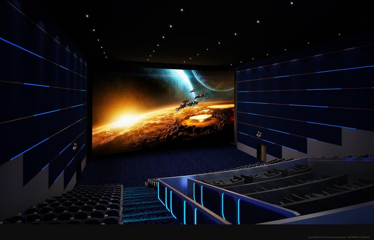 3D blue movie theater video