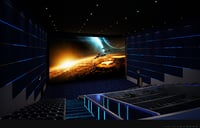 Blue movie theater video hall