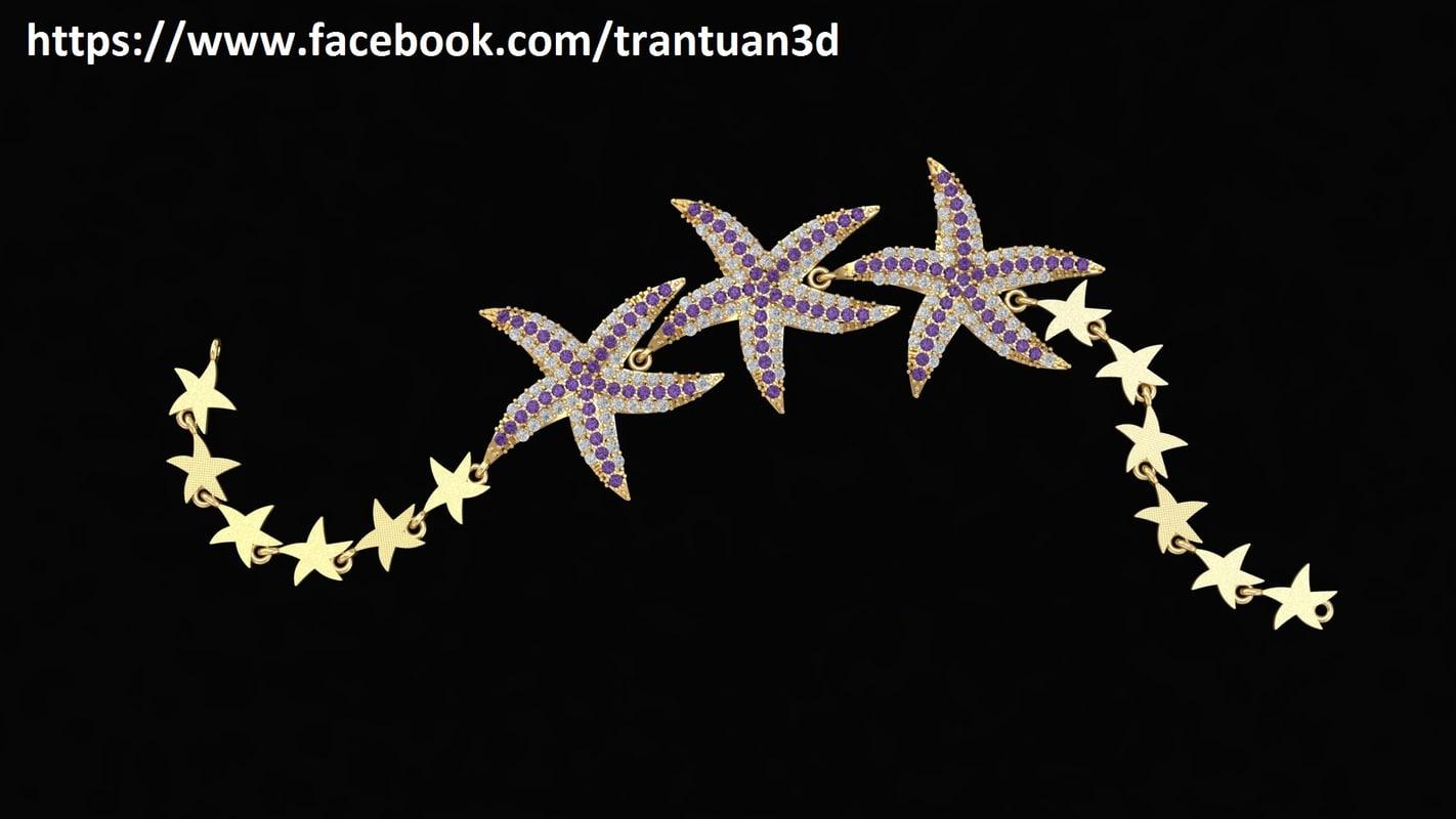 3D model starfish bracelet