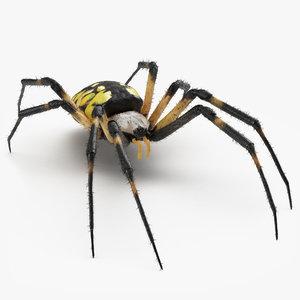 3D yellow garden spider fur