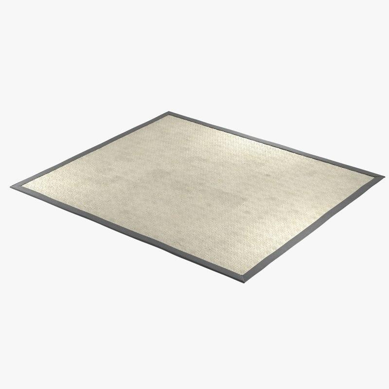 rug rectangular sisal 3D