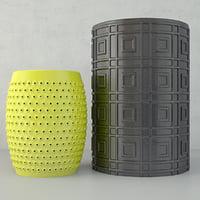 3D model ceramic stools