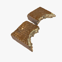 3D chocolate wafer bar realistic