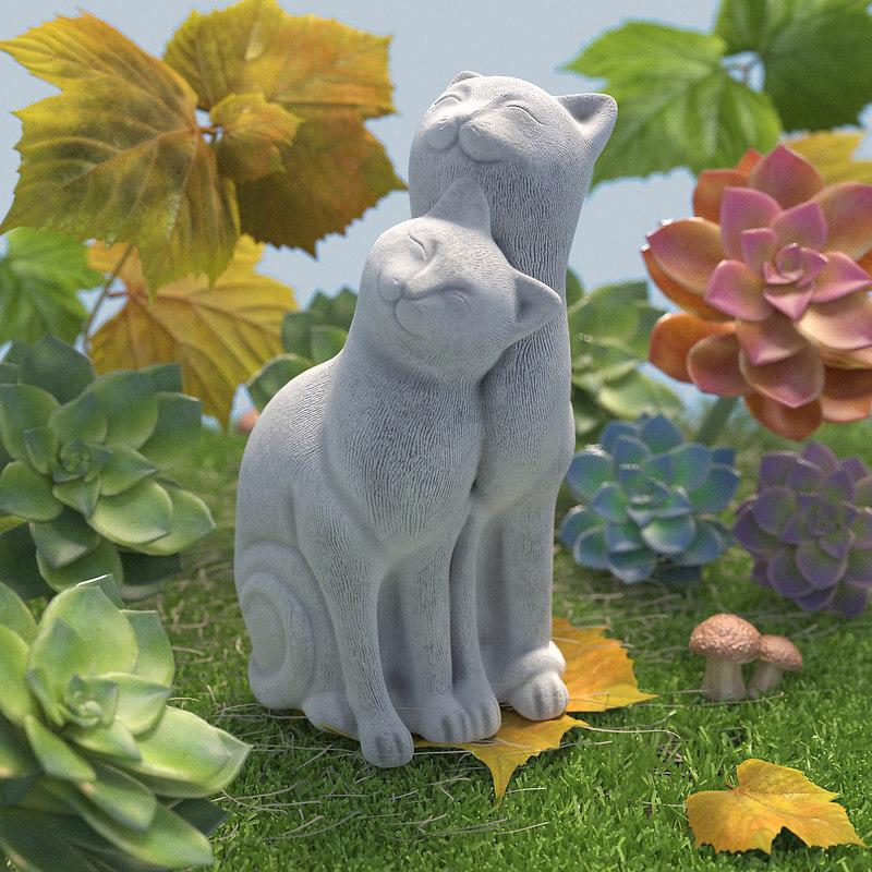 3D model garden couple cats